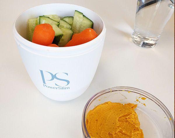 PowerSlim lunchpot met groente en hummus
