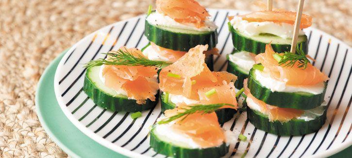Komkommertjes met roomkaas en zalm