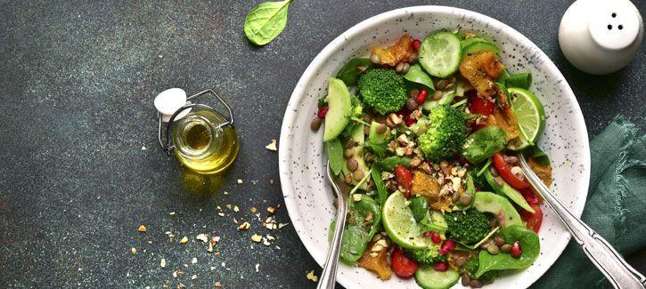 Linzensalade met pompoen en broccoli