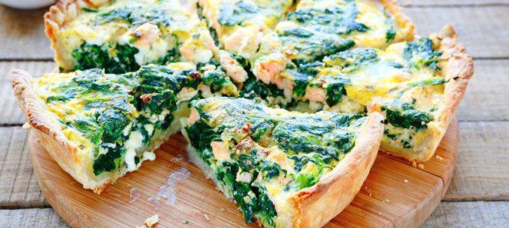 Quiche met spinazie en zalm